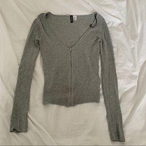 2 for $20 H&M Divided Gray V-Neck Zipper Sweater